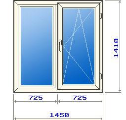 Двухстворчатое окно в домах 121 серии