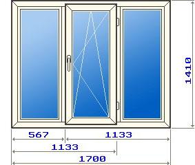 Трехстворчатое окно в домах 121 серии