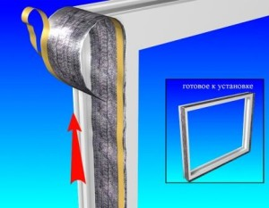 устанавливаем паровлагонепроницаемую ленту изнутри помещения