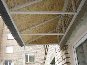 Монтаж крыши балкона на последнем этаже