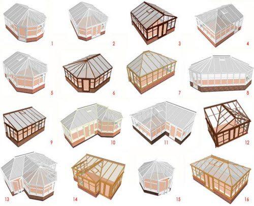 типы конструкций зимних садов